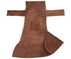 Plaid avec manches - couverture à manches douce, plaid à canapé, couverture polaire - marron, 200 x