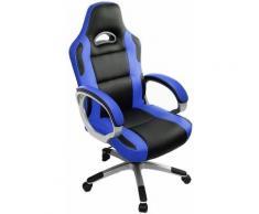 Racing Chaise de Bureau PU - Gaming Chaise - Fauteuil de Bureau - Hauteur Réglable - Bleu / Noir