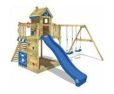 WICKEY Aire de jeux Portique bois Smart Lodge 150 avec balançoire et toboggan bleu Cabane enfant