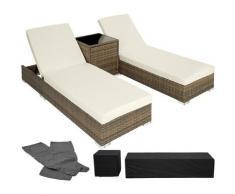 Tectake - Bain de soleil duo 5 positions avec 2 sets de housses + housse de protection - chaise