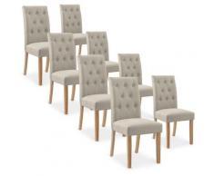 Lot de 8 chaises capitonnées Gaya tissu beige
