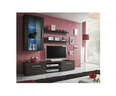 Meuble TV GALINO E design, coloris wengé. Meuble moderne et tendance pour votre salon. - Marron
