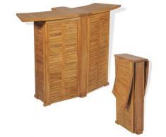 VDTD28042_FR Table pliable de bar 155x53x105 cm Bois de teck solide - Topdeal