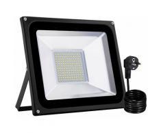 6 PCS 100W LED Projecteur SMD Lampe Extérieure Avec Prise EU Blanc Chaud LLDUK-D4NDEBT100W220VX6