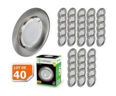Lot de 40 Spot Led Encastrable Complete Alu Brossé Lumière Blanc Neutre 5W eq.50W ref.787