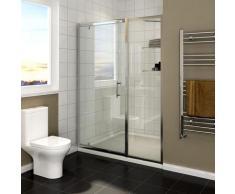 Cabine de douche 116 x 185 cm pivotante porte de douche avec étagère en verre - Sirhona