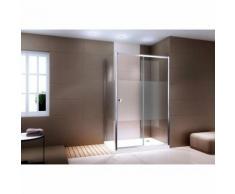 Paroi de douche en coin et porte coulissante en verre véritable - EX504