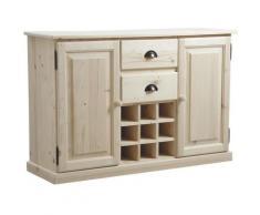 Pegane - Buffet de cuisine en bois brut - Dim : L 125 x P 40 x H 83 cm
