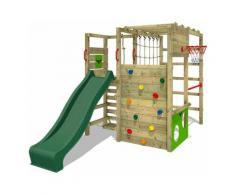 FATMOOSE Aire de jeux Portique bois ActionArena avec toboggan vert Échafaudage grimpant avec mur