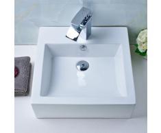 Vasque à Poser en Céramique Lavabo pour Salle de Bain en Forme Carrée