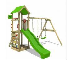 Aire de jeux Portique bois KiwiKey avec balançoire et toboggan vert pomme Maison enfant exterieur