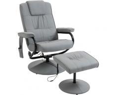 Homcom - Fauteuil de massage et relaxation électrique pivotant inclinable avec repose-pied