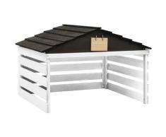 Garage de tondeuse à gazon Noir et blanc 78x74x54 cm Sapin