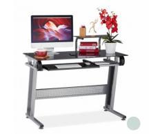Bureau pour ordinateur, en verre, plateau pour clavier et étagère, HxlxP 94x110x63cm, différentes
