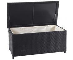 Coffre à coussins en polyrotin, HHG-570, coffre jardin ~ Premium noir, 51x115x59 cm, 250l