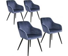 Tectake - Lot de 4 chaises velours MARILYN pieds noirs - chaise de salle à manger, chaise de