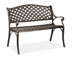 Banc de jardin et de Balcon, 2 sièges, design antique, en aluminium HlP 82x102x60 cm, noir bronze