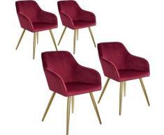 Tectake - Lot de 4 chaises velours MARILYN pieds dorés - chaise de salle à manger, chaise de