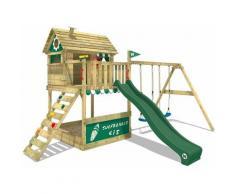 Aire de jeux Portique bois Smart Seaside avec balançoire et toboggan vert Maison enfant sur pilotis