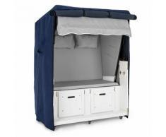 Set Abri plage cabine chaise longue 2 places housse/roulettes - gris