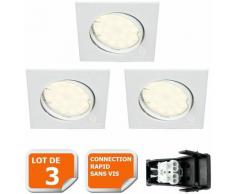 Lampesecoenergie - LOT DE 3 SPOT ENCASTRABLE ORIENTABLE CARRE LED SMD GU10 230V BLANC RENDU ENVIRON