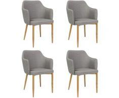ASTOP - Lot de 4 chaise style glamour - 84x46x46 cm - Tissu haute qualité - Chaise élégante - Gris