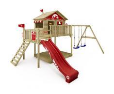 Aire de jeux Portique bois Smart Coast avec balançoire et toboggan rouge Maison enfant sur pilotis