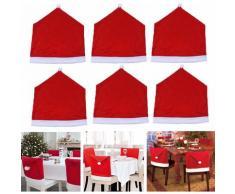 6x Housse de Chaise Rouge Pr Décoration No?l Hasaki