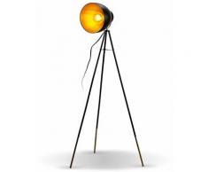 Lampadaire rétro noir doré lampe à pied métal design vintage E27