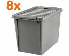 8x Boîte de rangement en plastique recyclé | 61 l | Taupe | Avec couvercle | SmartStore - Taupe
