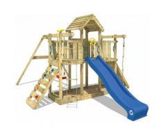 Aire de jeux Portique bois Smart Twister avec balançoire et toboggan bleu Maison enfant exterieur