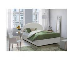 Luna lit double avec conteneur, éco-cuir, 205 x 175 h95 cm, Blanc - Talamo Italia