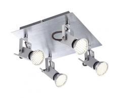 Etc-shop - Plafonnier pivotant, plafonnier 4 flammes avec spots mobiles, aluminium brossé, 4x LED