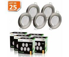 LOT DE 25 SPOT LED ENCASTRABLE COMPLETE RONDE FIXE ALU BROSSE eq. 50W BLANC CHAUD