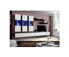 Price Factory - Meuble TV FLY E2 design, coloris noir et blanc brillant. Meuble suspendu moderne et