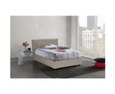 Lit Coffre Anna double, Made in Italy, Similicuir, cm 140x200, ouverture frontale, Taupe - Talamo