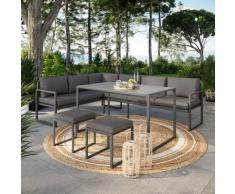 Salon de jardin en acier 8 personnes d'angle design - Gris Anthracite- ROMY - Anthracite