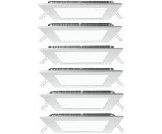 Set de 6 panneaux LED, plafonniers encastrés, lampes grille, appliques, blanc neutre