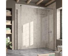 Kassandra - Paroi de douche fixe + Porte coulissante LUNA 115 cm Paroi latérale : 76.5 - 79 cm