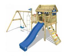 WICKEY Aire de jeux Portique bois Smart Travel avec balançoire et toboggan bleu Maison enfant sur