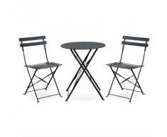 Salon de jardin bistrot pliable Emilia rond gris anthracite, table ⌀60cm avec deux chaises
