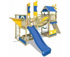 WICKEY Aire de jeux Portique bois Smart Cruiser avec balançoire et toboggan bleu Cabane enfant