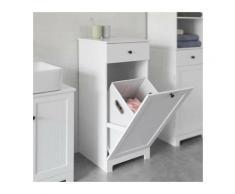 ®Meuble de salle de bain 40 * 38 * 90cm avec un tiroir et un panier à linge Meuble bas de salle de