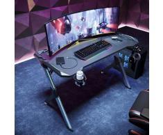 Sirhona - Bureau Gaming de Jeu 120x60x75cm avec Porte-gobelet, Cable Rangement et Crochet pour