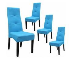 DALLAS - Lot de 4 Chaises Turquoises Capitonnées - Turquoise