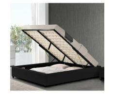 Cadre de lit similicuir noir avec rangement Studi 180