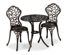 Relaxdays - Meubles de balcon, 3 pièces, table de balcon avec 2 chaises, ornés, aluminium, bistrot