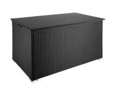 Coffre de Jardin de Rangement extérieur 750 L en Résine tressée et Aluminium Noir