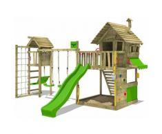 FATMOOSE Aire de jeux Portique bois GroovyGarden avec balançoire TowerSwing et toboggan vert pomme