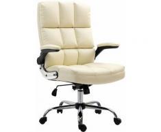 Chaise de bureau 489, chaise de direction chaise pivotante chaise de bureau, ~ similicuir crème